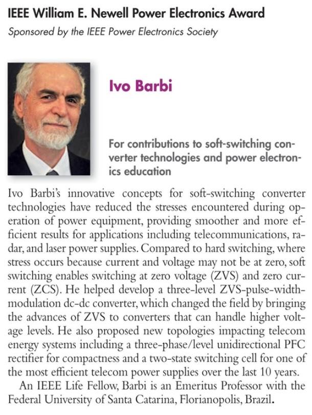 Prof. Ivo Barbi recebe importante reconhecimento do IEEE